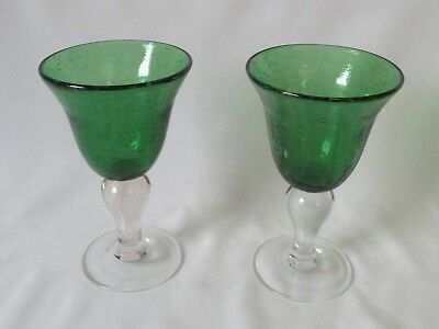 2 Vintage Green Controlled Bubble Glass Wine Juice Goblets Glasses w/Clear Stems