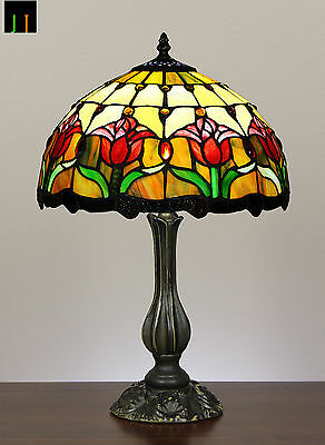 Vintage Tiffany Tulip Stained Glass Bedside Table Lamp with Antique finishing