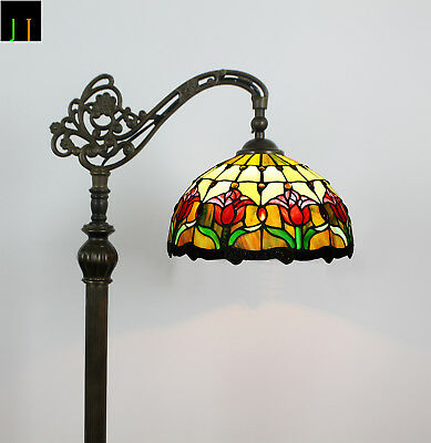 Artwork Tiffany Red Tulip Style Art Deco Stained Glass Hanging Floor Lamp