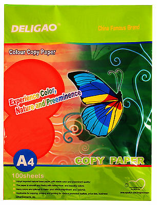 Coloured Printing Paper - A4 x 100 Sheets, 80gsm, Available in 10 colours