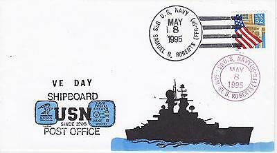 2f043079fe1 Naval Military Ship Event Cover - 1995 Uss Samuel B Roberts Ffg-58 Ve Day