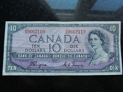 1954 BANK OF CANADA $10 TEN DOLLARS BC-32a B/D 9662119 COYNE TOWERS DEVILS FACE