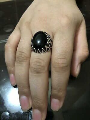 Yemeni  Aqeeq Ring  Color Black