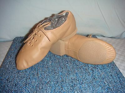 Genuine Bloch NEW Split Sole Ultra Flex Jazz Shoes, Tan Leather, Child size 10
