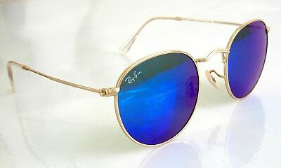 aafb4a6141 Authentic Ray Ban Round Cobalt BLUE Bronze Mirrored Sunglasses RB3447 New