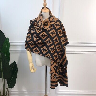 Brown NECK SCARF WRAP SQUARE Houndstooth Plaid Pashmina  37x37 with fringe