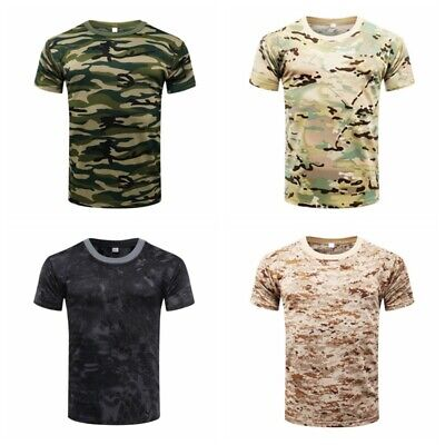 Hunting Mens Camo Tee T-shirts Long Sleeve Camouflage Shirt Sports Tops Pullover