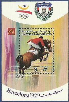 Uae United Arab Emirates 1992 Ms Mnh Barcelona Olympic Games Horse Riding
