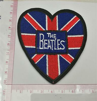 The Beatles Heart UK Flag Emblem Sew Iron-On Embroidered Applique Patch Badge