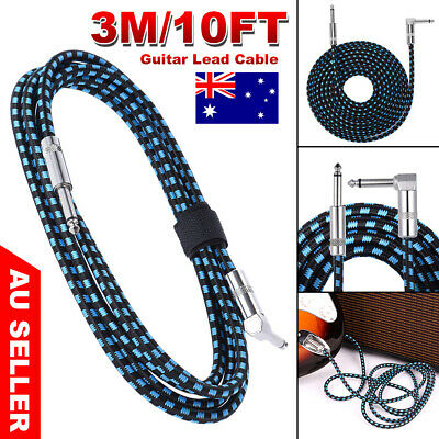 3M Guitar Lead 1 Right Angle Jack Noiseless Braided Wire Instrument Cable 10FT