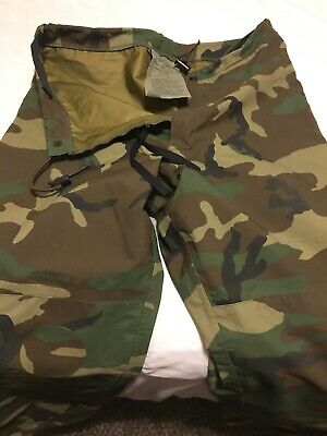 4b9ecf69b6a57 Us Military Goretex Trousers Pants Extended Cold Wet Weather Woodland Camo  Small