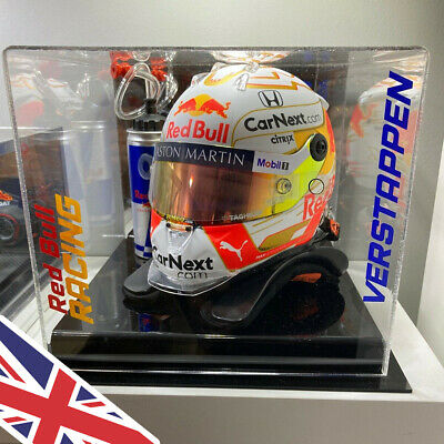 F1 HELMET 1/2 Scale Acrylic Display CASE Any Name & Colour UK Manufacturer
