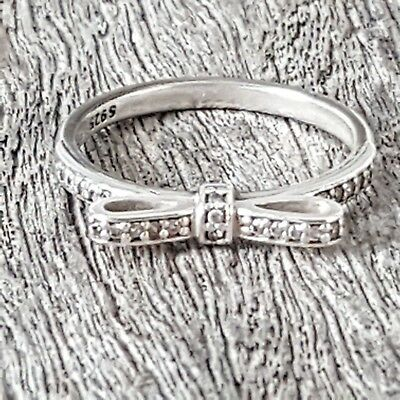 6834191a3 Pandora Delicate Sparkling Bow Cubic Zirconia Ring Size 56 190906 Free Post