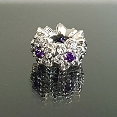 ae2757141 Pandora Forget Me Not Purple Clear CZ Flower Charm Spacer 791834 Free  Postage
