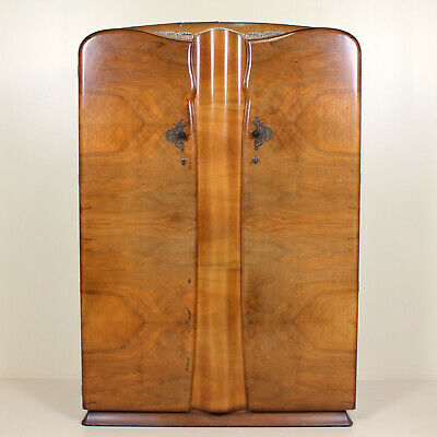 Art Deco Walnut Wardrobe Moderne Vintage Double Armoire