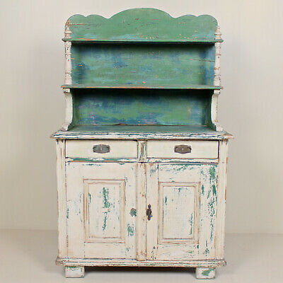Antique French Painted Dresser Bookcase Original Distressed Scraped Finish C19th