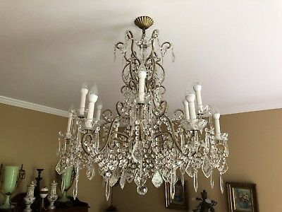 Vintage Italian Crystal Macaroni Beaded Directoire Chandelier 12 Light 34""