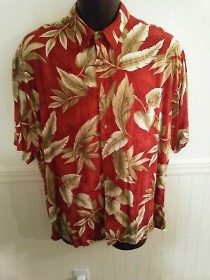19344510 Pierre Cardin Size L 100% Rayon Hawaiian Style Button Up Shirt Floral Red