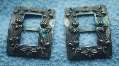 Vintage Antique Silver Plated Brass Bronze ? Victorian Shoe Buckles Pair Ornate