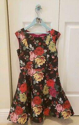 d9caedfb36ca0 TED BAKER Girls Size 8 Black Floral Roses Party Dress Swirl Skirt EUC fits  5 6