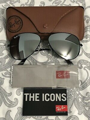 82bef299186 New Ray-Ban Aviator RB3026 Silver Mirrored Lenses Sunglasses Black Frame  62mm