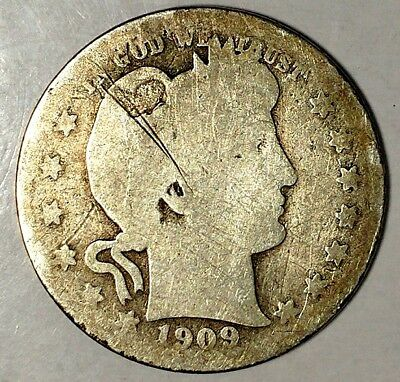 1909-D 25C Barber Quarter 18uoc1123 90% Silver  Only 50 Cents for Shipping*