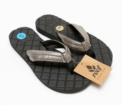 f02665216 REEF DREAMS II Women's Black /Metallic Gray Flip Flops Comfort Sandals Sz  10 NEW