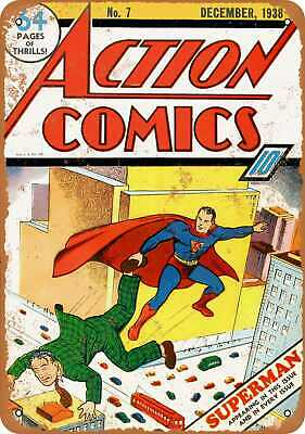 Metal Sign - Action Comics #7 - Vintage Look Reproduction