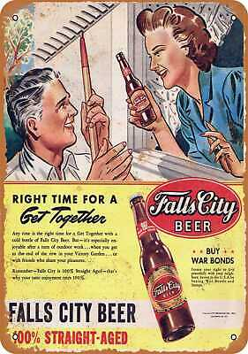Vintage Look Reproduction 2 Metal Sign Falls City Beer and Horse Racing