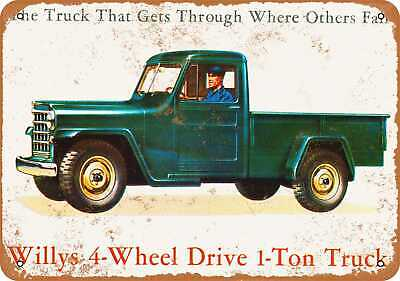 Metal Sign - 1953 Willys 1-Ton Truck - Vintage Look Reproduction