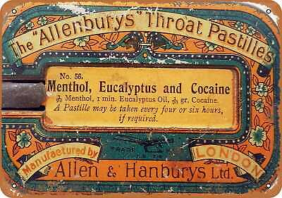 Metal Sign - 1918 Cocaine Lozenges - Vintage Look Reproduction