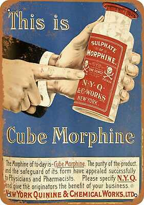 Metal Sign - 1900 Cube Morphine - Vintage Look Reproduction