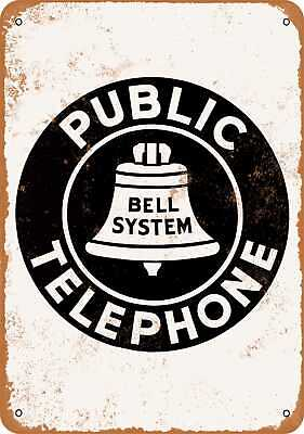 Metal Sign - Bell System Public Telephone - Vintage Look Reproduction