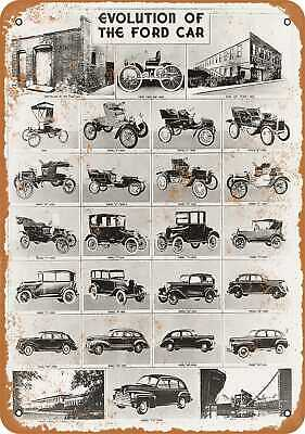 Metal Sign - 1946 Evolution of the Ford Car - Vintage Look Reproduction