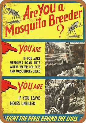 Metal Sign - 1944 Are You a Mosquito Breeder? - Vintage Look Reproduction
