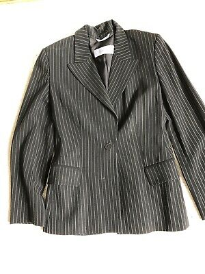 MAX MARA VINTAGE LIGHT WEIGHT LANA WOLL PINSTRIPE JACKET SZ 4 Made In Italy