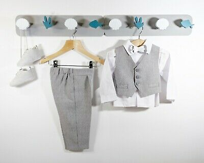 Baby Boys Grey Formal Outfit Suit Smart Set Christening Baptism Wedding 0-24m