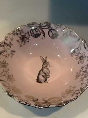 222Fifth Bunny Hill Pink Gold New Serving Bowl