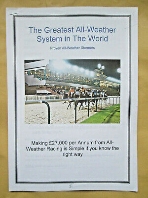 The Greatest All Weather Horse Racing System in The World