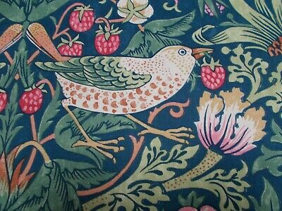 William Morris Curtain Fabric 'Strawberry Thief' 3.5 METRES Indigo/Moss/Persian