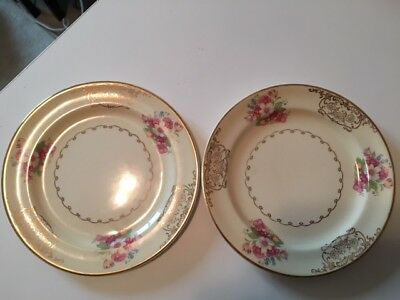 Vintage Paden City Pottery Bread Plates (2) - with Floral and Gold Design -