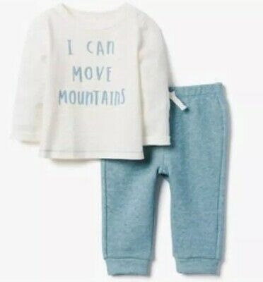 Gymboree Baby Boy I Can Move Mountains Blue White Outfit Shirt Pants 18-24 M NWT