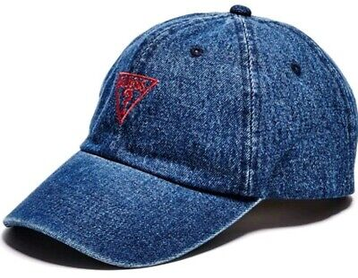 bcc1be9373e6a Guess Jeans Blue Denim Baseball Cap Red Triangle Logo 6-Panel Mens Snapback  Hat