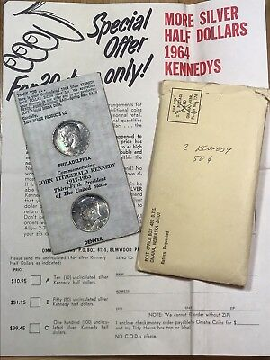 1964 Philidelphia Kennedy Half Dollar Set Tidy House Toned With Envelope! Rare