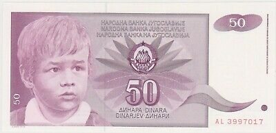 (N23-44) 1990 Yugoslavia 50 Dinara bank note (AS)