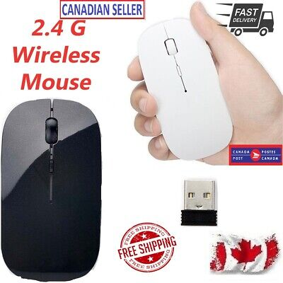 Black/White 2.4GHz Slim Optical Wireless Mouse & USB Receiver For Laptop PC Ca