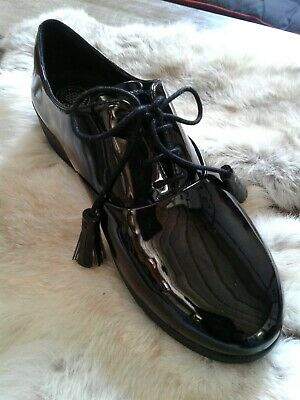 5b73278c531336 NEW Fitflop Classic Tassel Super Oxford Lace Up Black Patent Leather Sz 6.5   140