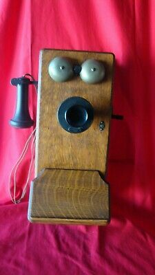 Western Electric Antique Vintage Rustic  Crank Wall Phone Ringer Box