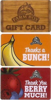 3 Gift Cards: Farm Boy (Canada) Lot of 3 great cards, $0.00 collectible