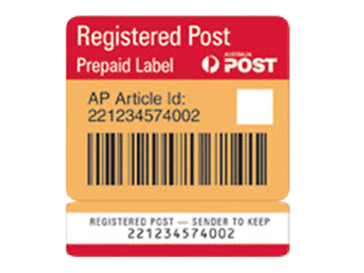 AusPost Registered Post label tracking Australia Post signature on delivery